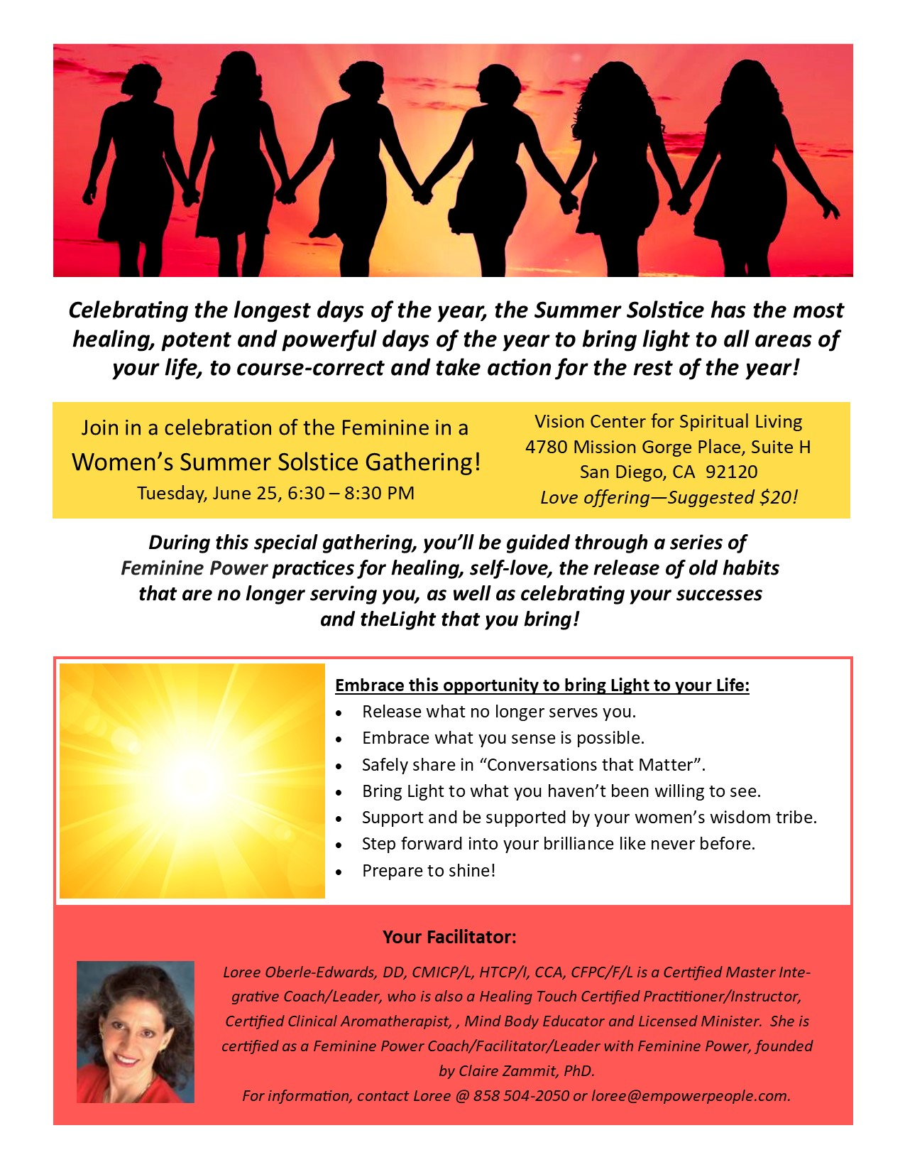 6 25 2019 Womens Summer Solstice Circle Flyer Loree Oberle Edwards